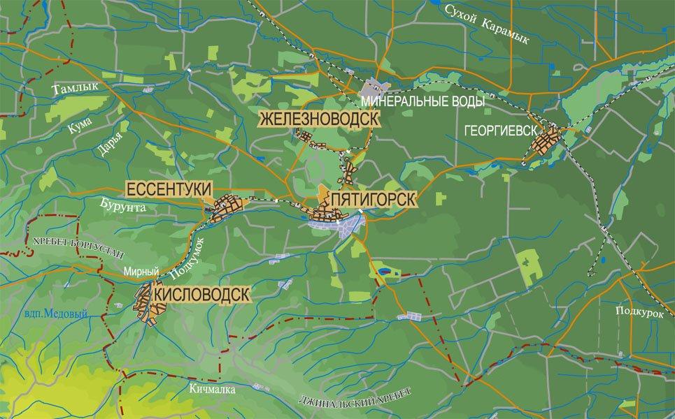Пятигорск на карте Кавказских