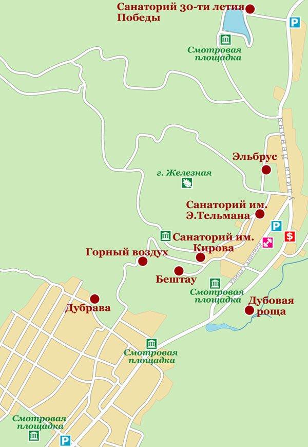 Карта санаториев Железноводска